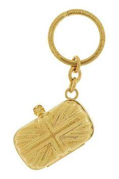 Mini Britannia Swarovski crystal-embellished gold-tone keychain #women #covetme #alexandermcqueen