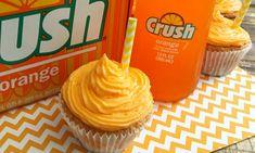 Orange Creamsicle Cupcakes with Orange Crush Buttercream Frosting Cupcake Recipes, Cupcake Cakes, Dessert Recipes, Cupcakes, Summer Desserts, Just Desserts, Delicious Desserts, Orange Recipes, Sweet Recipes