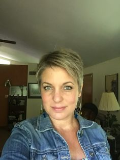My short gray pixie - just chopped every last bit of blonde off and now I'm free from the hair color!!