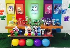 While searching for Inside Out party ideas, I noticed that most people simply used rainbow colors and added characters from the Inside Ou. 4th Birthday Parties, 7th Birthday, Birthday Ideas, Inside Out Party Ideas, Rainbow Parties, Trunk Or Treat, Emotion, Family Day, Art Party
