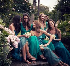 bridesmaids | photo by liz ham--a close color, but not green. Don't want my girls to look like Christmas trees!