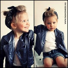 toddler outfit, rocker kid, leather jacket, bandana, black and white
