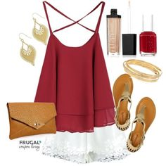 Frugal Fashion Friday Outfit of the Day. Polyvore layout, Garnet Blosue with Lace Shorts and Gold Accents on Frugal Coupon Living. Spring outfit or Summer outfit with wardrobe basics.