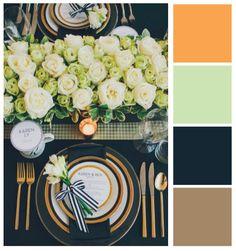 Paleta de cores chic e moderna para casamentos.