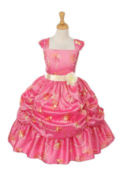 Your girl will look amazing in this special occasion pageant dress by Kiki Kids. This stylish coral dress features floral embroidered taffeta and a pick up skirt. It is embellished with a sash and a flower at waistline. Coral Flower Girl Dresses, Princess Flower Girl Dresses, Princess Dress Kids, Coral Dress, Princess Style, Little Girl Dresses, Flower Girls, Pink Princess, Girls Dresses
