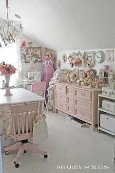 Shabby chic bedroom pink home vintage style design interior organization