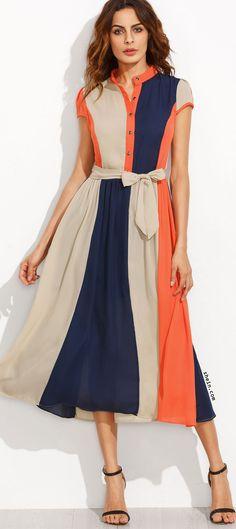 Color Block Bow Tie Waist Buttons Shirtwaist Dress