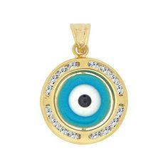 14k Yellow Gold, Small Blue Evil Eye Pendant Charm Created Gems 15mm (P053-125)
