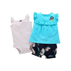 Cotton Hot Sale Worsted Animal Baby Clothing Set Rompers 2017 Hot Sale Clothes Girls Summer Pattern Sets 3 Pieces Free Shipping