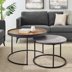 Union Rustic Eddyville 2 Piece Coffee Table Set Table Top Color: Brown/Gray