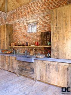 raw kitchen in old oak / Belgian blue-stone project from DIRK #COUSAERT