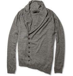 Shawl-Collar Wool Cardigan