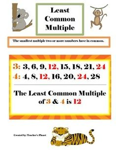 FREE Least Common Multiple Chart!Learning how to find the Least Common Multiple can be challenging for some students. This chart is very helpful for  learning how to find the Least Common Multiple. If your students need more practice to find the Least Common Multiple try Least Common Multiple War and Task Cards- a fun and engaging way to practice finding the LCM.Least Common Multiple War* I have over 40 FREE products.
