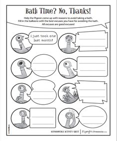 Teach Your Child to Read - FREE Mo Willems printables: www. - Give Your Child a Head Start, and.Pave the Way for a Bright, Successful Future. 1st Grade Writing, First Grade Reading, Kindergarten Literacy, Preschool, Mo Willems, Library Activities, Reading Activities, Sequencing Activities, Opinion Writing