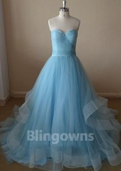 Sweetheart Ruched Zipper Blue Sweep Train Sleeveless Tulle Ball Gown Wedding Dresses