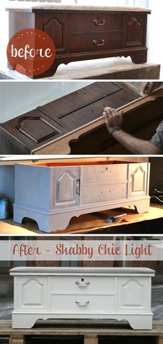 DIY shabby chic . I think we can,.. meaning you can. Tiff n Krystal. ;) Refurbished Furniture, Repurposed Furniture, Shabby Chic Furniture, Furniture Makeover, Diy Furniture, Trunk Makeover, Painted Furniture, Shabby Chic Crafts, Shabby Chic Style