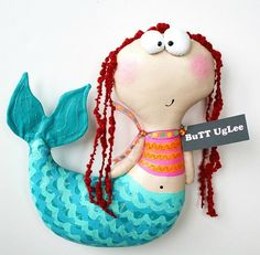 Mermaid Named Gwyn ... WhiMsical WaLL ArT ... Dimensional Decor ... teamposhnursery