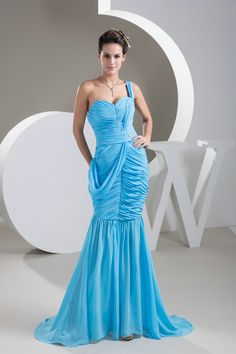 2013 Style Mermaid One Shoulder Ruching Blue Long Prom Dresses £116