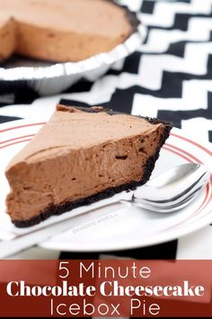 5 Minute Chocolate Cheesecake Icebox Pie: A decadent no-bake dessert to satisfy your chocolate craving with creamy instant chocolate pudding and a crunchy Oreo cookie crust.