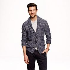 There is just something very cool about this sweater - J.Crew Marled cotton shawl-collar cardigan