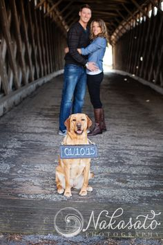 Dog in Engagement Photos | Covered Bridge | Grafton WI | Nakasato Photography