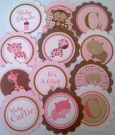 Girl Safari Cupcake Toppers Use for Baby by SerendipityPartyShop, $10.00