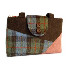 Harris Tweed Purse - Color-Block Collection - One of a Kind Bag Everyone will want to know where you got such a unique purse! Made from exclusive Harris Tweed wool, imported from Scotland, in a variety of checks, solids and barleycorn weaves. Harris Tweed is a luxury cloth handwoven by the islanders in their homes on the Isles of Harris, Lewis, Uist and Barra in the Outer Hebrides of Scotland, using local wool. The Harris Tweed label of authenticity is sewn onto the back of the bag. Second…