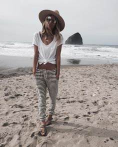 "JAMES MICHELLE on Instagram: ""Beach Bum Always  // pretty obsessed with these @chaserbrand striped pants. wearing our double barrel bracelet + pineapple bar."""