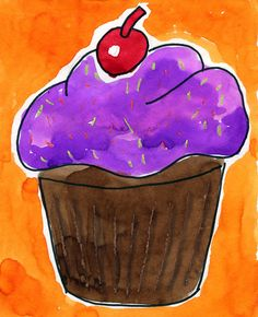 Cupcake Painting · Art Projects for Kids School Art Projects, Projects For Kids, Art School, Class Projects, Project Ideas, Cupcake Kunst, Cupcake Art, Painting For Kids, Art For Kids