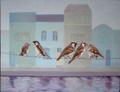Nicoline van Dalen, kunstenaar, verkoopt schilderij 'Twitter' via #KUNSTmarktplaats.nl. #kunst #mussen #vogels #art #schilderij