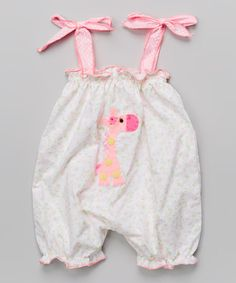 Love this Victoria Kids Pink & White Giraffe Bubble Romper - Infant & Toddler by Victoria Kids on #zulily! #zulilyfinds