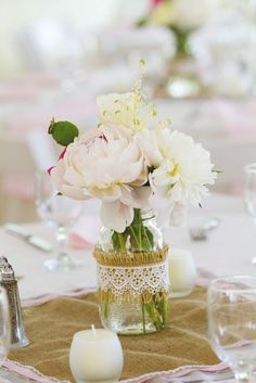 pastel peonies in lace-wrapped jar + burlap square for rustic wedding #Wedding Photos #Wedding Ideas| http://romantic-wedding.lemoncoin.org