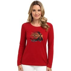 Pendleton Chief Tee (Red Rock Multi Print) ($32) ❤ liked on Polyvore featuring tops, t-shirts, red, native american t shirts, fitted tee, screen print tees, red tee and fitted t shirts