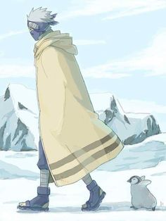 Kakashi is being chased by a penguin
