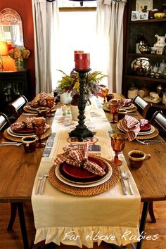 Far Above Rubies: Fall and Winter Tablescapes and Decor Fall Table Settings, Thanksgiving Table Settings, Holiday Tables, Place Settings, Table Setting Inspiration, Autumn Inspiration, Turkey Halloween, Old Country Stores, Christmas Kitchen