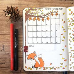 "Hermine on Instagram: ""Today I'm showing you my #monthlyspread for September. 🍂 I decorated this page with autumn leaves and a cute little fox. 🦊 🍃Happy autumn…"""
