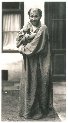 Gustav Klimt in front of the entrance to his studio at Josefstädter Strasse 21, 1912. Photo by Moritz Nahr. Gelatin silver print, private collection   July 2012: Gustav Klimt: 150th Anniversary Celebration