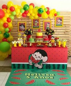 No automatic alt text available. Watermelon Birthday Parties, Carnival Birthday Parties, Birthday Party Themes, Girl Birthday, Water Party, Fiesta Party, Baby Party, Childrens Party, First Birthdays
