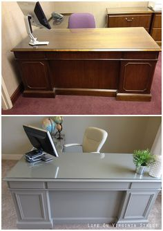 Office Desk Makeover Is Complete Office desk makeover using Annie Sloan Chalk Paint and some new trim. What an amazing difference!Office desk makeover using Annie Sloan Chalk Paint and some new trim. What an amazing difference! Furniture Makeover, Office Furniture, Diy Furniture, Luxury Furniture, Furniture Design, Furniture Buyers, Furniture Market, Furniture Removal, Furniture Vintage