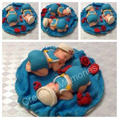 Twin Babies Sailors cake topper for BABY SHOWER  or any by anafeke, $35.00