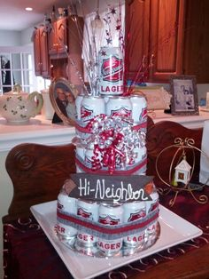 Happy Birthday Neighbor!  Beer cake.