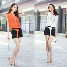 2013 Free shipping high quality Plus size jumpsuit women jumpsuit summer mm stripe chiffon jumpsuit shorts LQ6116 $20.69