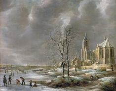 Jan Abrahamsz van Beerstraten - Winterlandschap met kerk en schaatsers en kolfers op het ijs