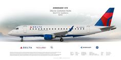 Embraer 175 Delta Connection opb Shuttle America (Republic Airline) N207JQ | Highly Detailed Profile Prints  | www.aviaposter.com | #airliners #aviation #jetliner #airplane #pilot #aviationlovers #avgeek #jet #sideplane #airport #embraer #erj #delta