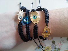 bracelet,evil eye,hamsa,macrame,black,16cm-6,3 inch,alloy,tinas creations,plated #TinasCreations #handmademacrameadjustablebracelet