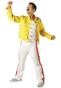 Turn yourself into the lead singer of Queen with this Freddy Mercury fancy dress costume. Fancy Dress Queen, Pop Star Fancy Dress, 1980s Fancy Dress, 80s Fancy Dress Ideas, 80s Party Costumes, 1980s Costume, Adult Costumes, Costume Ideas, Shell Suit