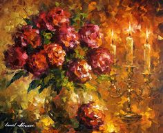 ROSES AND CANDLES - Original Oil Painting On Canvas By Leonid Afremov http://afremov.com/ROSES-AND-CANDLES-Original-Oil-Painting-On-Canvas-By-Leonid-Afremov-20-X24-50cm-x-60cm.html?bid=1&partner=20921&utm_medium=/vpin&utm_campaign=v-ADD-YOUR&utm_source=s-vpin
