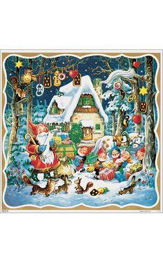 Korsch Santa, Elves, Angels with Gingerbread Motif Advent Calendar (Set of 2)