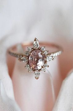 unique engagement rings oval sapphire halo rose gold engagement rings 36 Unique Engagement Rings That Wow Engagement Ring Rose Gold, Diamond Wedding Bands, Engagement Rings Unique, Non Diamond Engagement Rings, Morganite Engagement, Marquise Wedding Rings, Traditional Wedding, Non Traditional Engagement Rings Vintage, Engagement Ring Vintage
