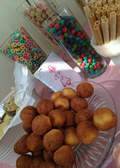 breakfast themed party food. cereal bar, doughnuts, muffins